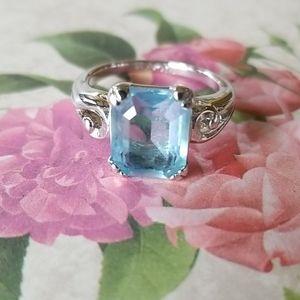 Vintage AVON Blue Topaz Silver Ring Size 5